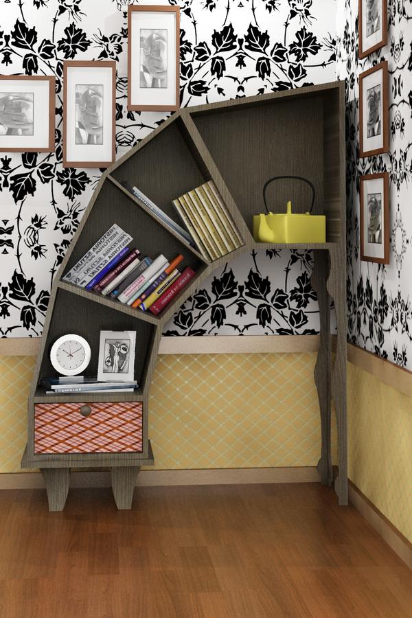 leaning bookshelf design